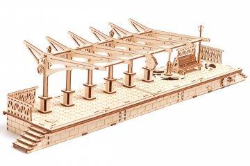 UGears Mechanical Wooden Model 3D Puzzle Kit Railway Platform